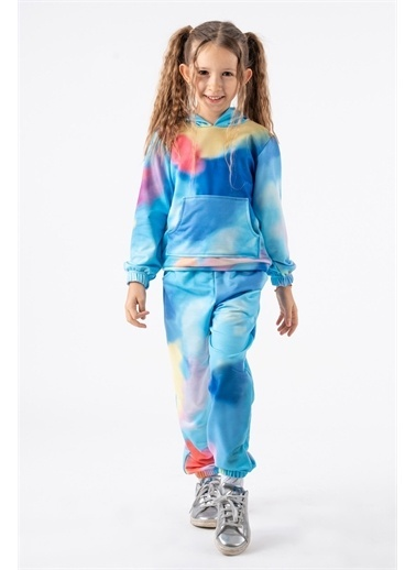 Minik Dolap Kız Çocuk Batik Desenli Kapüşonlu Eşofman Takım Mavi